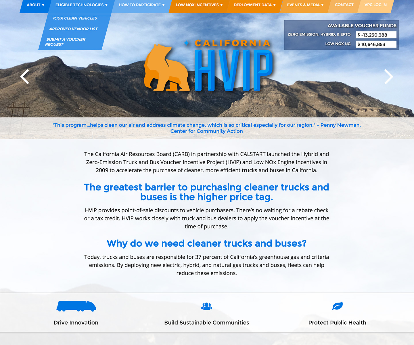 California Hybrid and Zero-Emission Truck and Bus Voucher Incentive Project: CalHVIP Homepage
