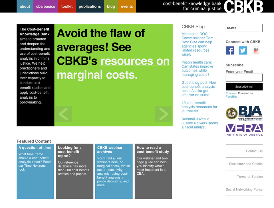 Cost-Benefit Knowledge Bank for Criminal Justice (Vera Institute of Justice - CBKB)