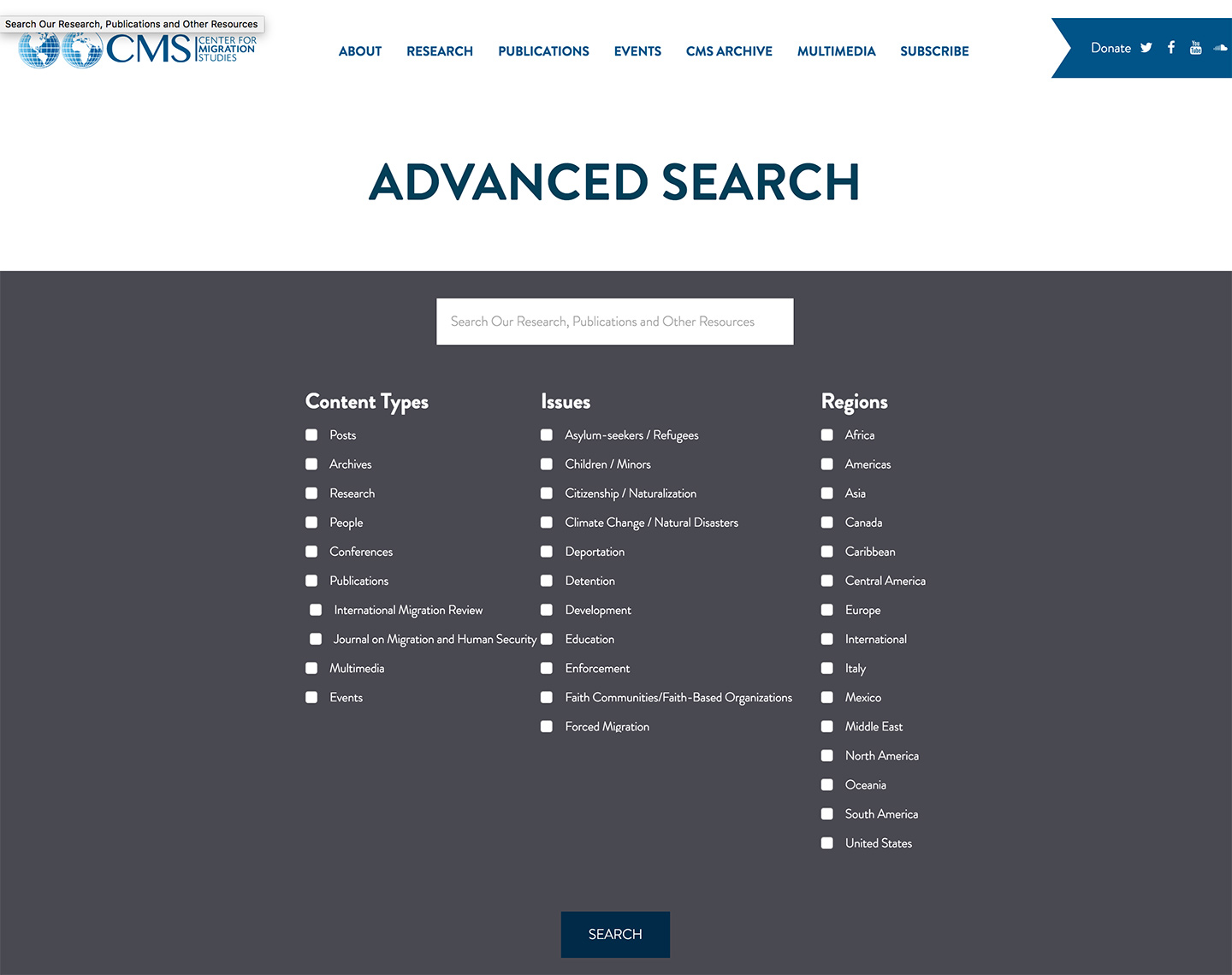 Center for Migration Studies - Advanced Search