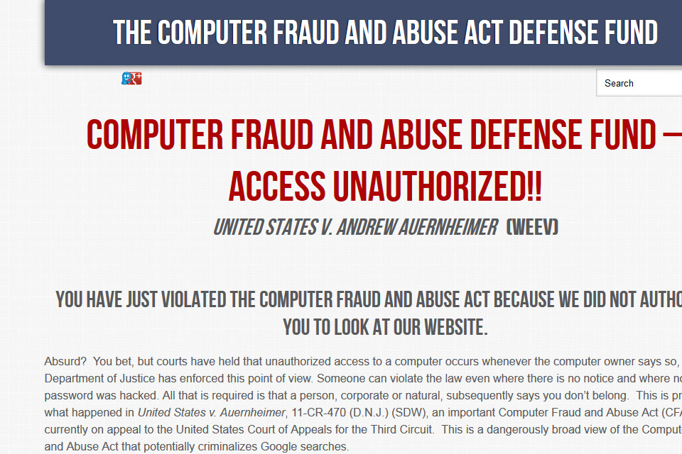 The Computer Fraud and Abuse Act Legal Defense Fund