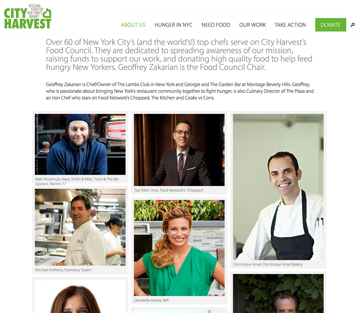 City Harvest: A masonry grid presents groups of people on the new site--in this case the City Harvest Food Council.