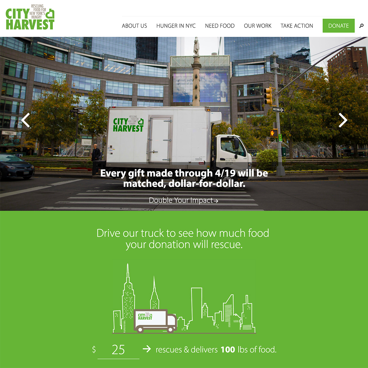 City Harvest: Prioritized establishing photos and calls to action anchor the homepage.