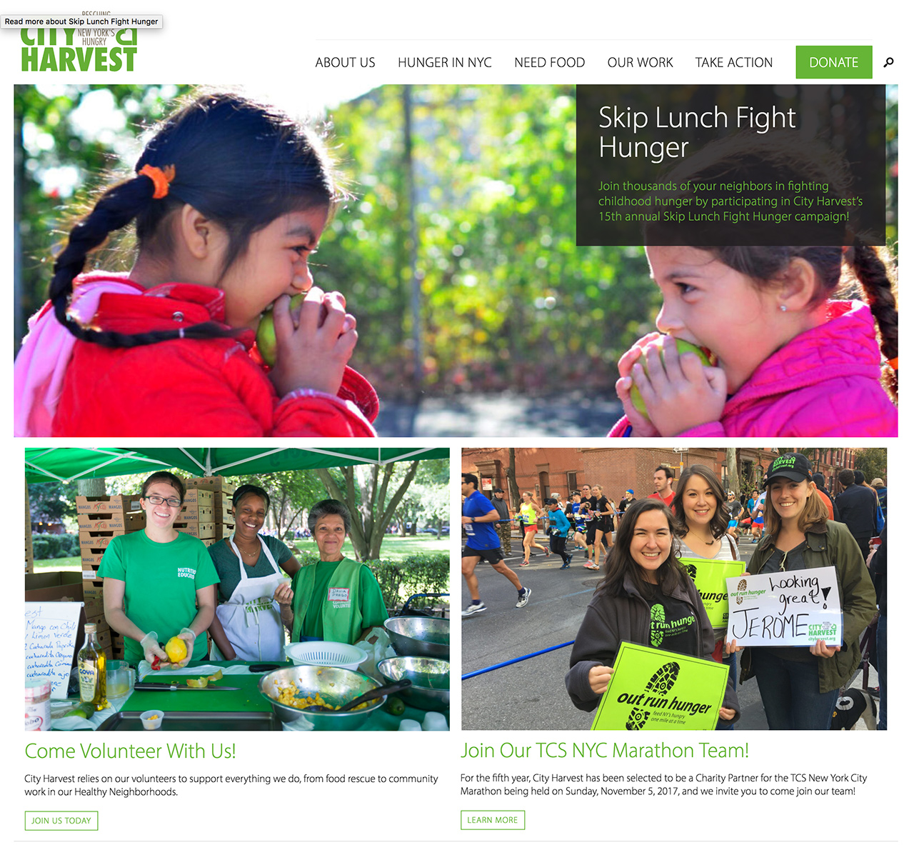 City Harvest: Custom featured content panels present the homepage as a visual