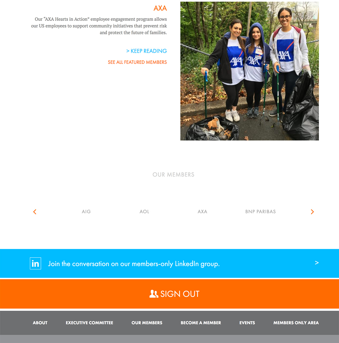 Corporate Volunteers of New York: Featured content and dynamic footer