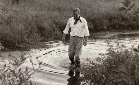 Daniel Patrick Moynihan Walking In Pond