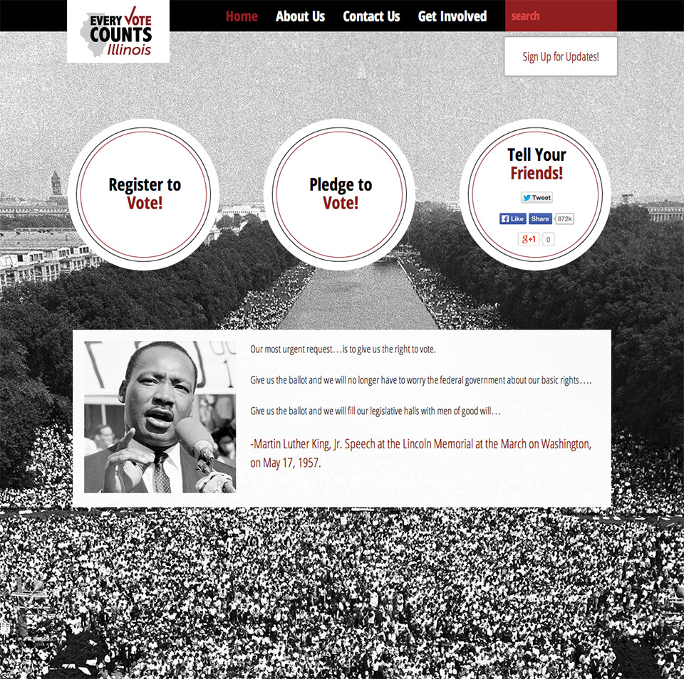 Every Vote Counts Illinois Homepage - Advocacy Sites by Social Ink