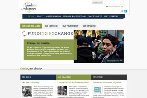 homepage, Funding Exchange (FEX) website by Social Ink