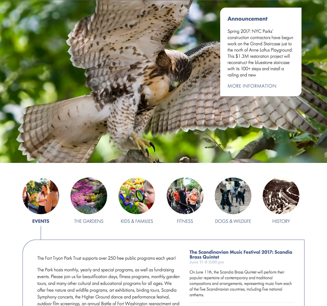 Fort Tryon Park Trust Home Featured Content