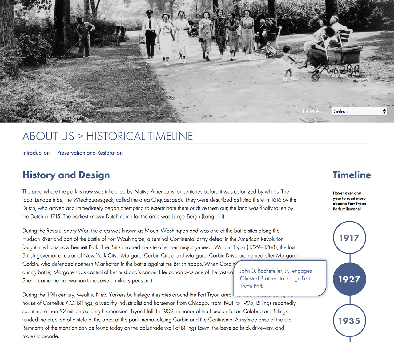 Fort Tryon Park Trust: Fort Tryon Park Trust Interactive Timeline