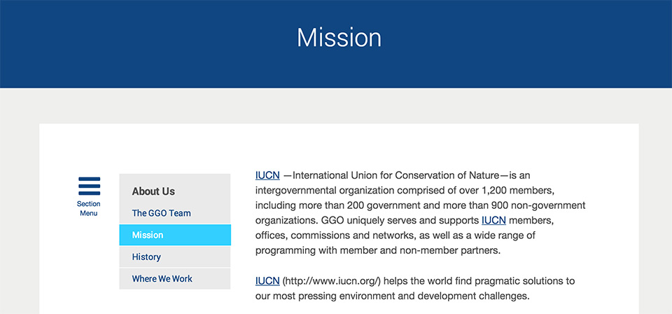 IUCN Global Gender Office: In-page subnavigation
