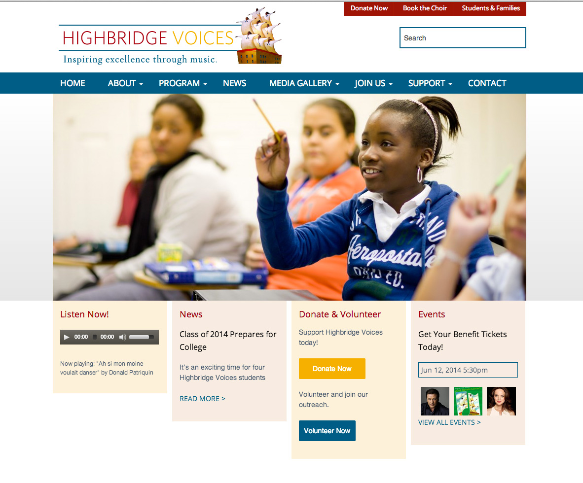 Help us sing the praises of the new Highbridge Voices website
