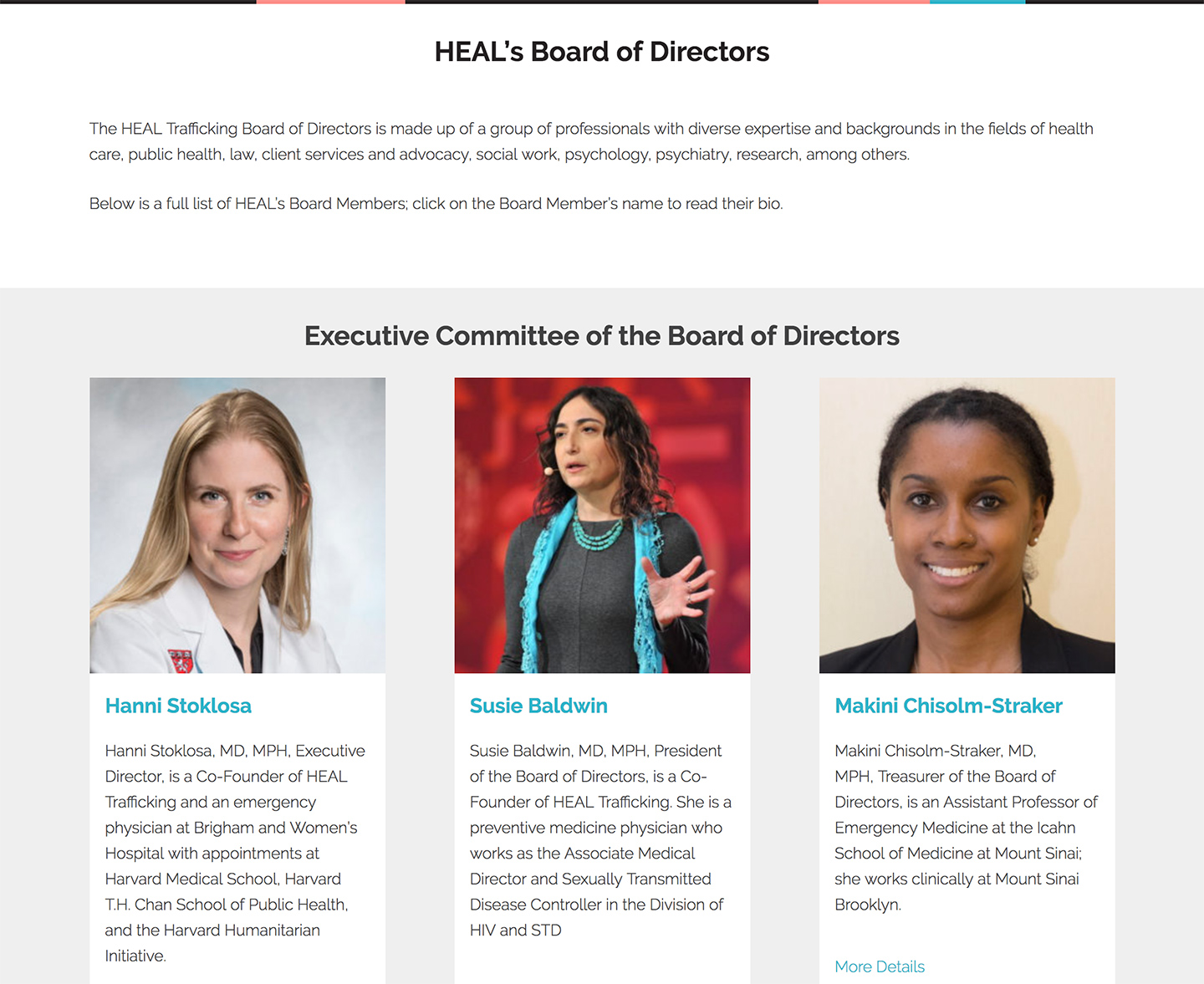 HEAL Trafficking: Easily edited board member listings