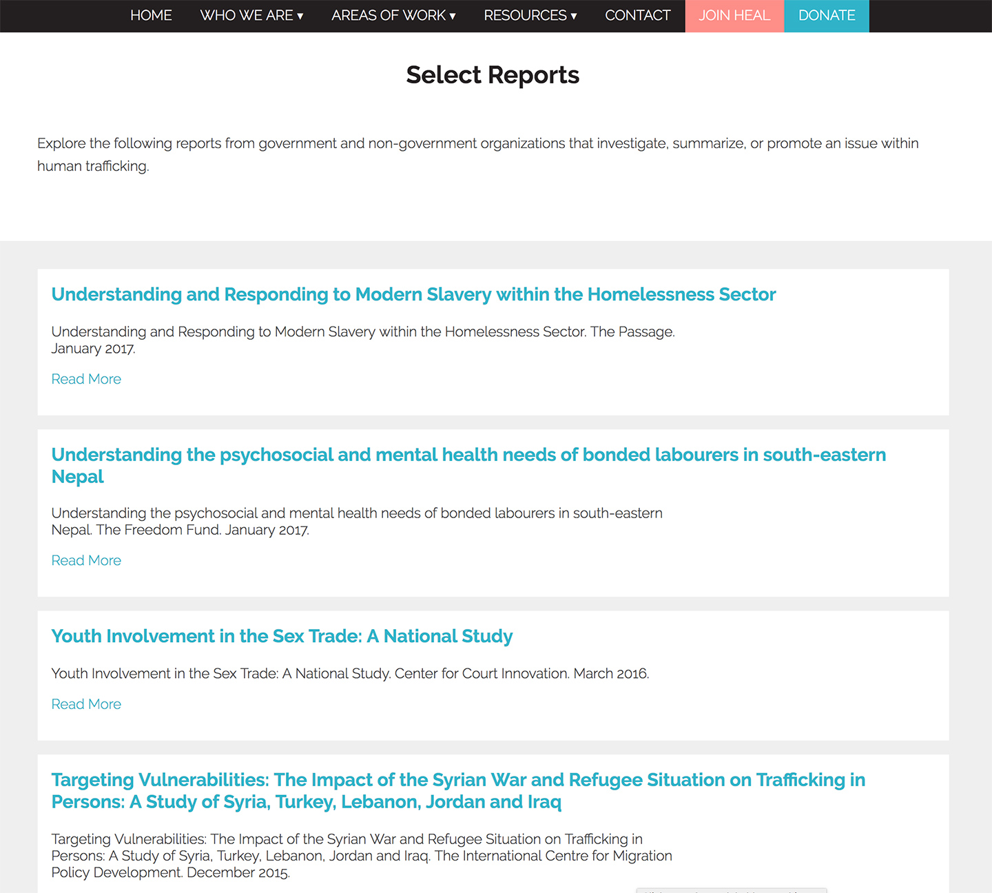 HEAL Trafficking: Searchable reports and resources