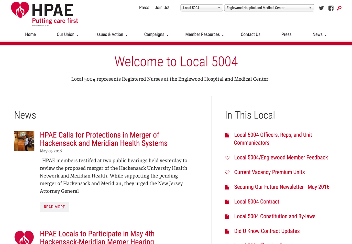 HPAE - Health Professionals and Allied Employees: Local Hub