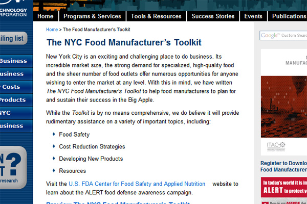 ITAC Food Manufacturer's Toolkit