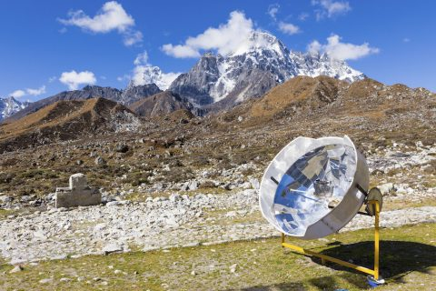 Solar panel cooker in Nepal mountains