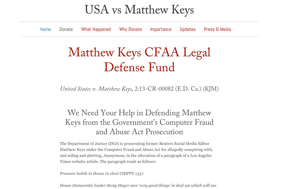 Matthew Keys CFAA Legal Defense Fund Site Kickstarts Support