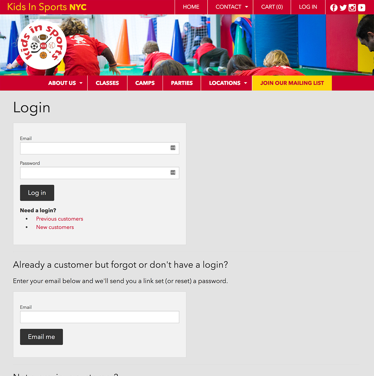 Kids In Sports: Kids in Sports Login Flow