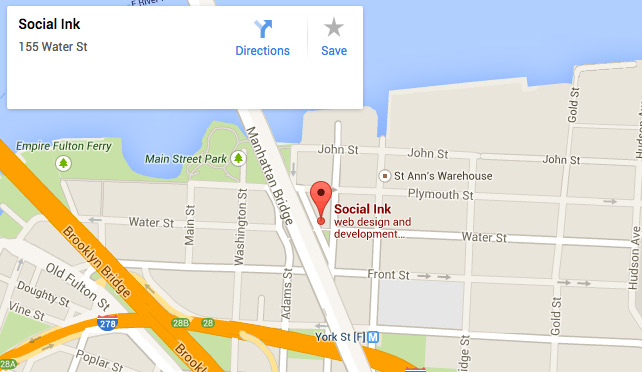 social ink location map: 155 water street brooklyn ny 11217