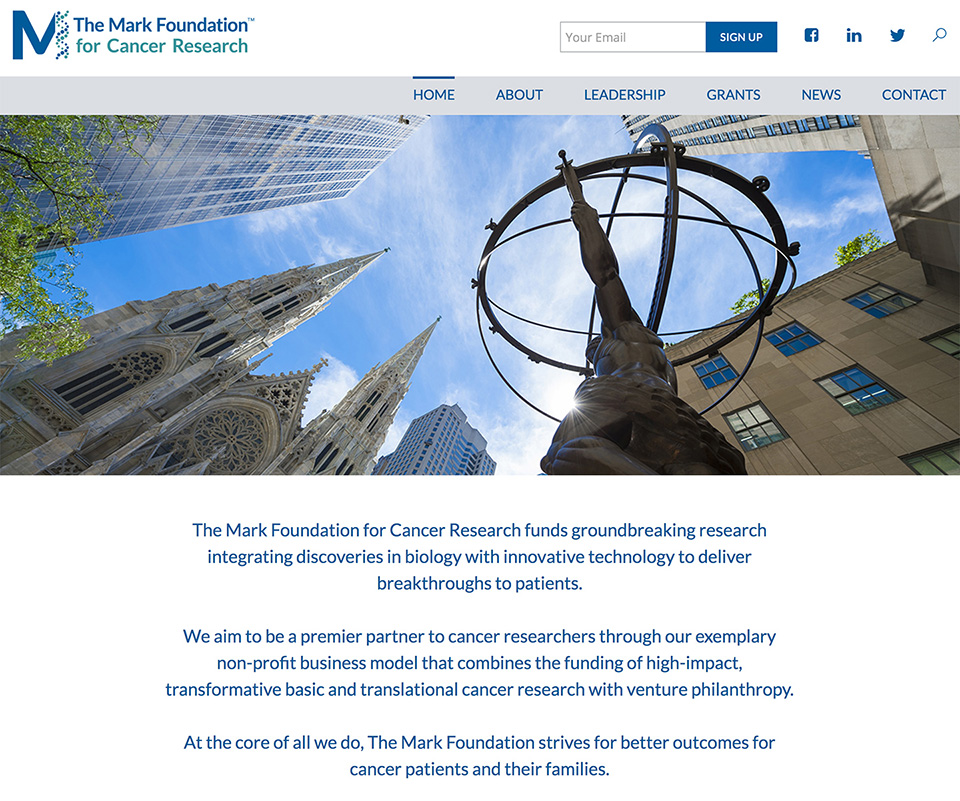 New Site Build for The Mark Foundation for Cancer Research