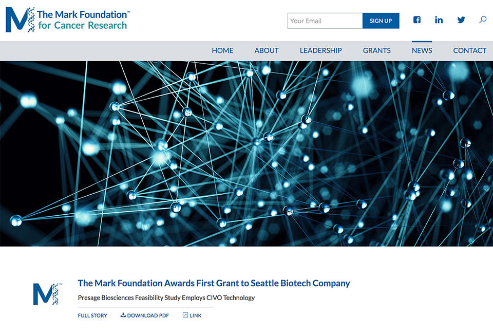 The Mark Foundation for Cancer Research: Automated News Archive
