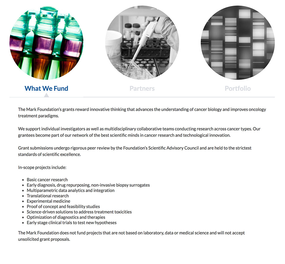 The Mark Foundation for Cancer Research: Tabbed Interactive of Research Areas