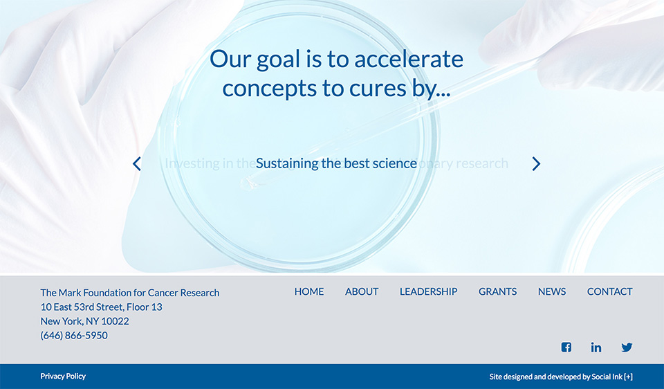The Mark Foundation for Cancer Research: Organizational Mission Slideshow