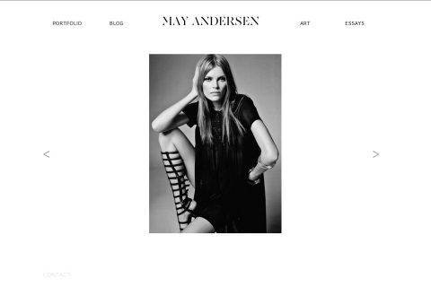 A touchscreen and keyboard compliant slideshow show off Andersen's modeling photos.