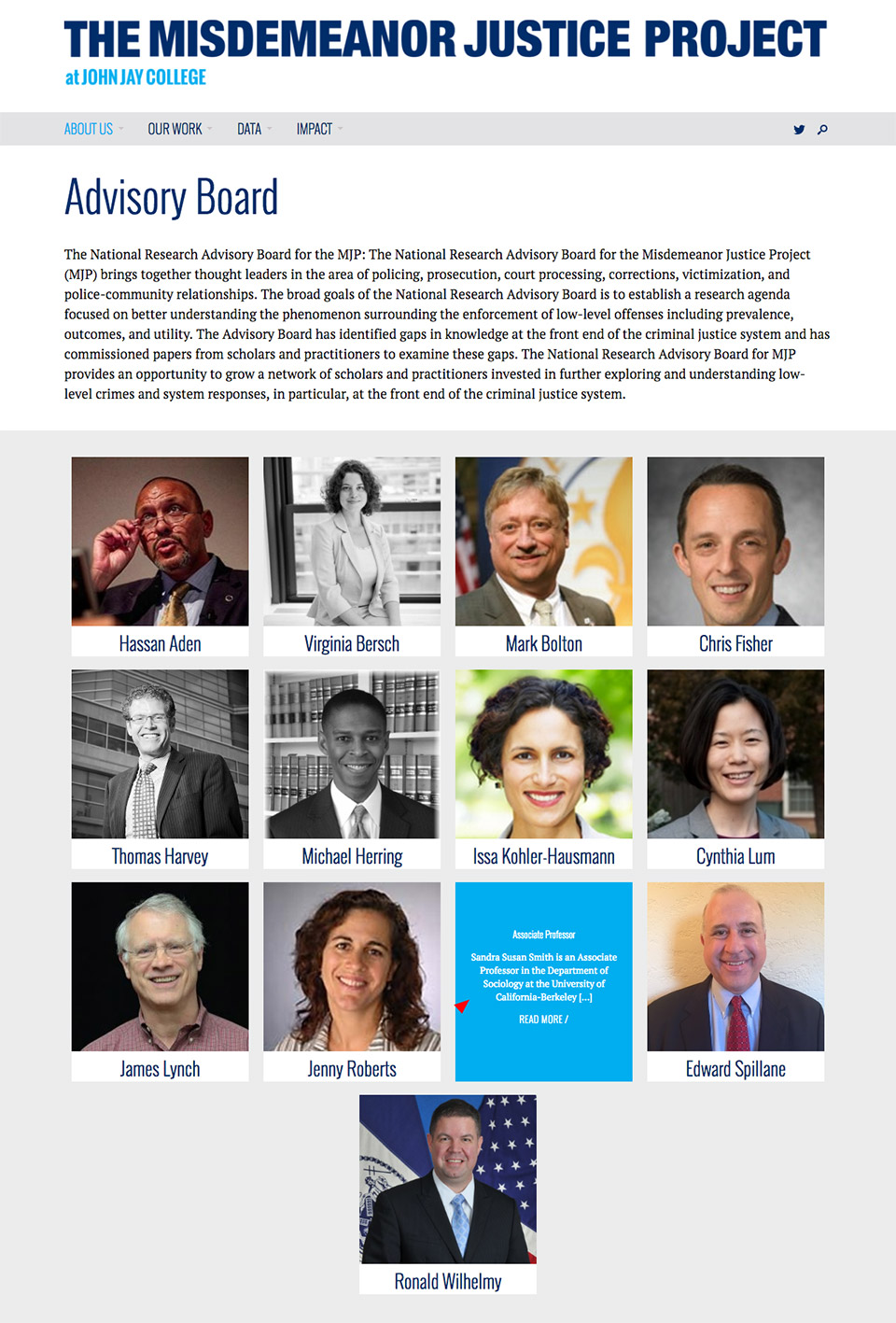 The Misdemeanor Justice Project: Advisory Board Grid