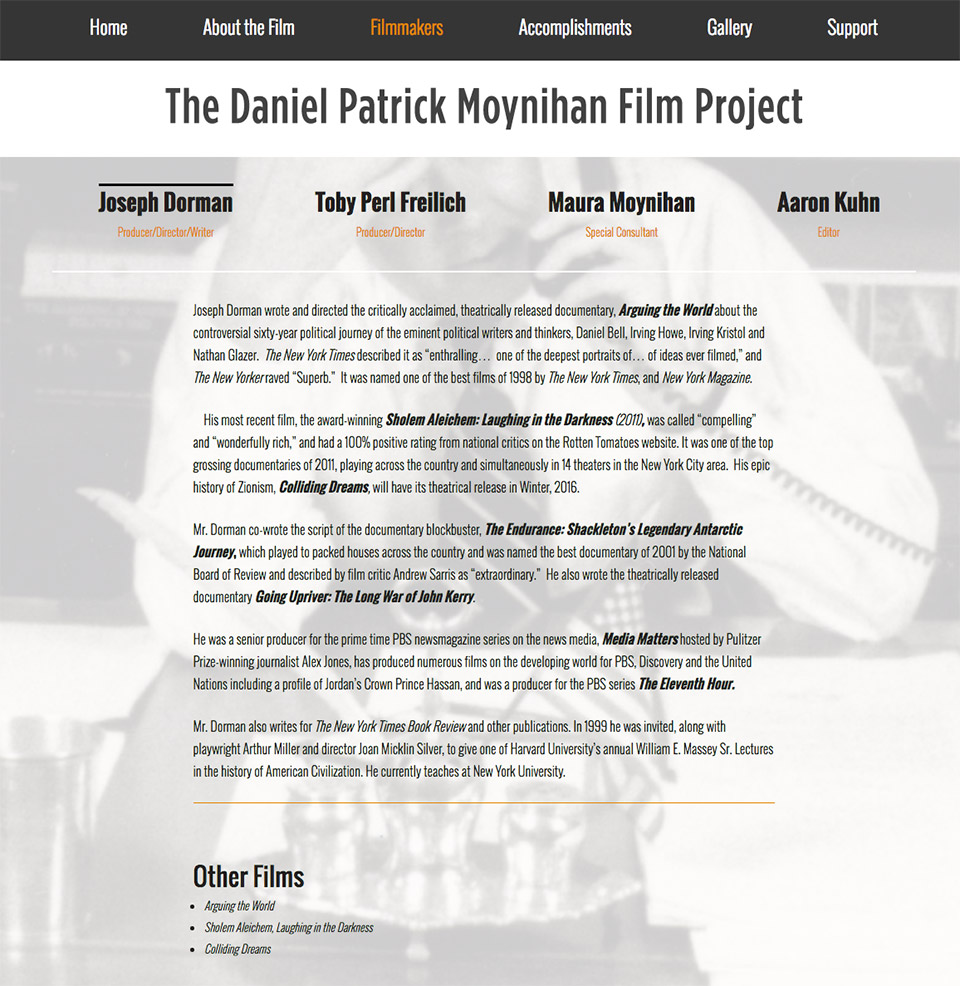 The Daniel Patrick Moynihan Film Project: Filmmakers Bio Interface