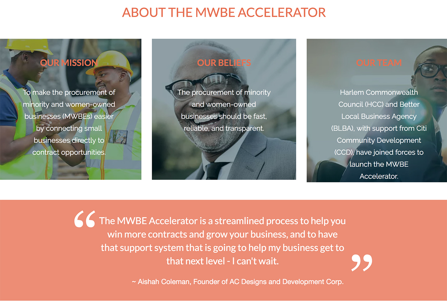 Harlem Commonwealth Council MWBE Accelerator: MWBE Accelerator About Us Silos