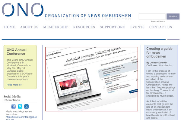 Organization of News Ombudsmen Homepage