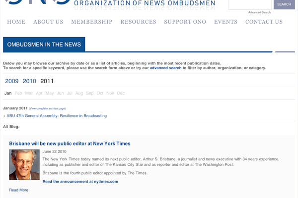 Organization of News Ombudsmen Articles