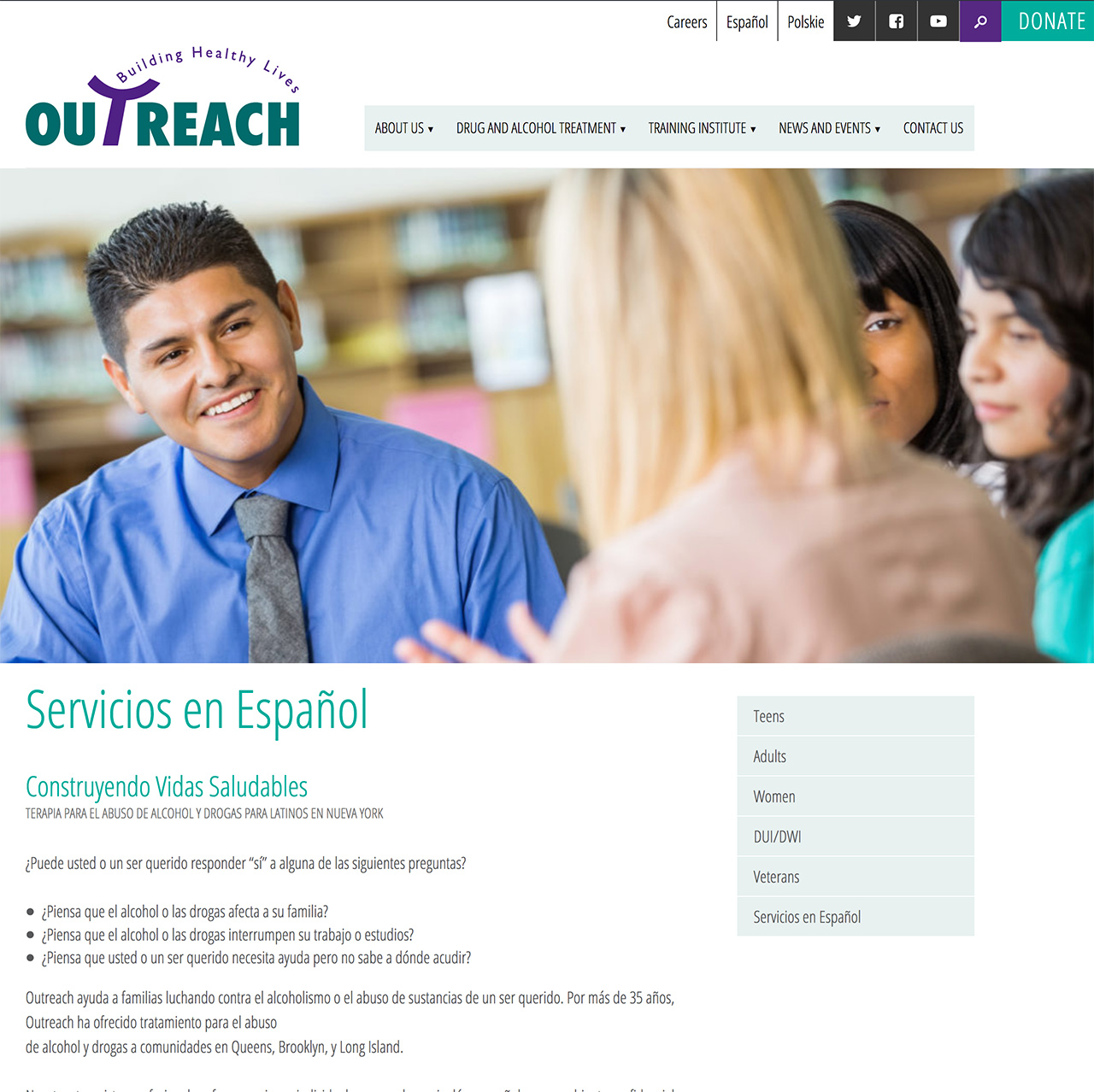 Outreach Development Corporation: Outreach Services and Editable Sidebar Quick Links