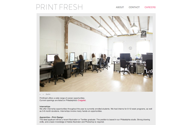 Print Fresh Studio careers, website by Social Ink