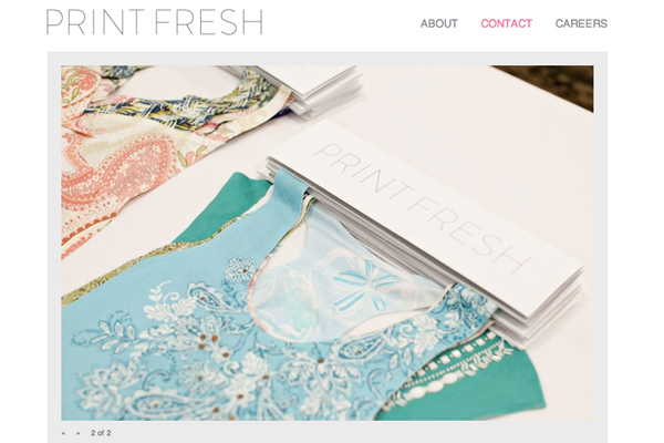 Print Fresh Studio contact page, website by Social Ink