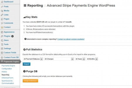 Advanced Payment Engine WordPress - Reporting and Statistics