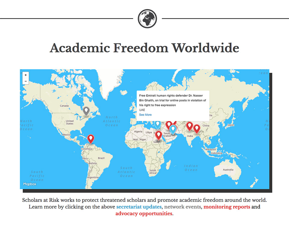 Scholars at Risk at NYU: Academic Freedom Map