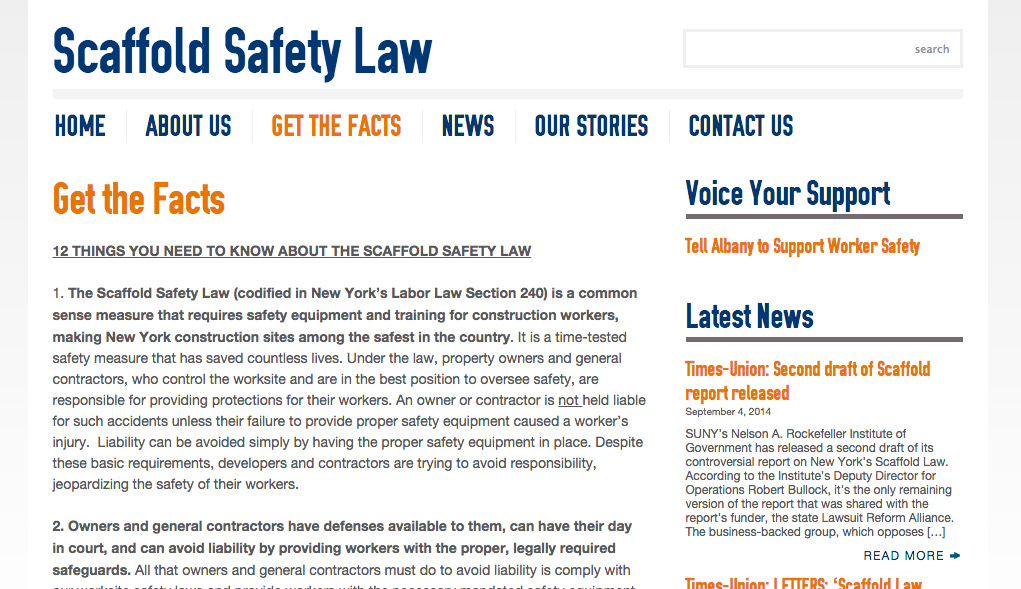 Get the Facts - Scaffold Safety - Advocacy Websites
