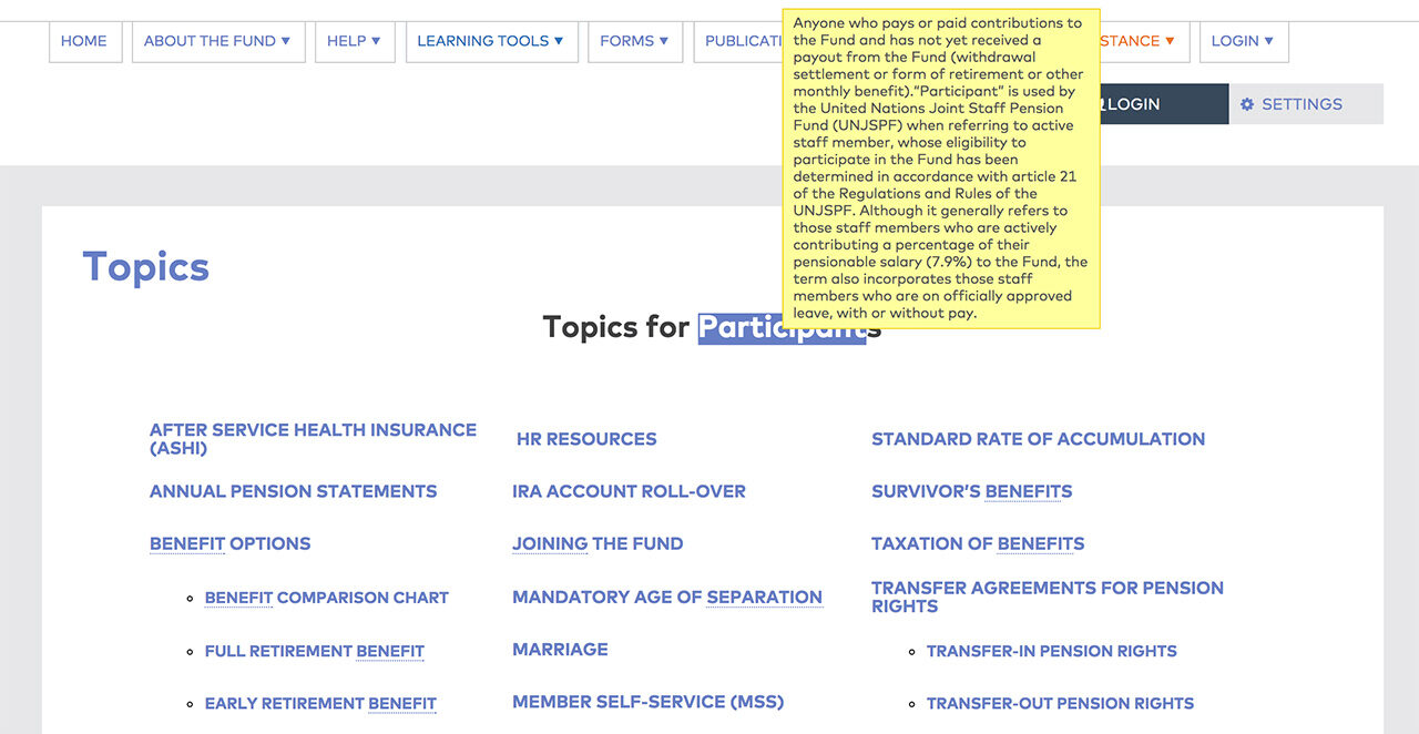 United Nations Joint Staff Pension Fund: Glossary Tooltips