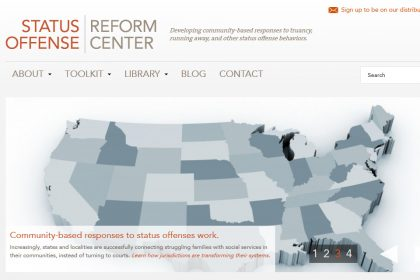 Vera Center's Status Offense Reform Center Homepage - by Social Ink
