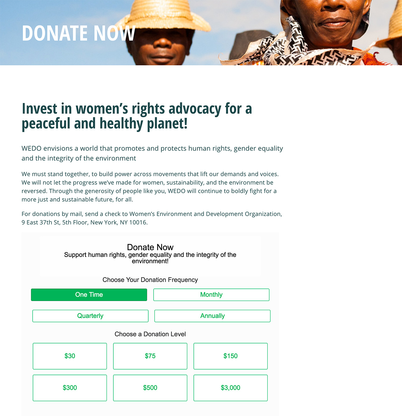 Women's Environment & Development Organization (WEDO): WEDO Donate