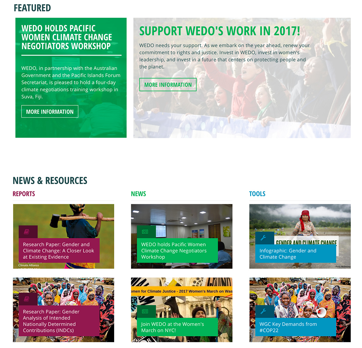 Women's Environment & Development Organization (WEDO): WEDO Featured Content